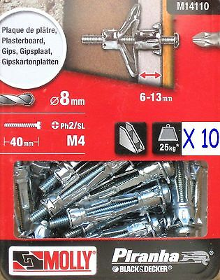 10 B & D Molly M4 Metal 33mm Cavity Wall Fixing Plasterboard Hollow Anchor Plugs
