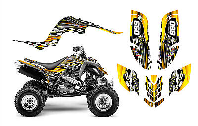 Raptor 660 graphics Yamaha 660R ATV custom sticker kit #2500 Yellow