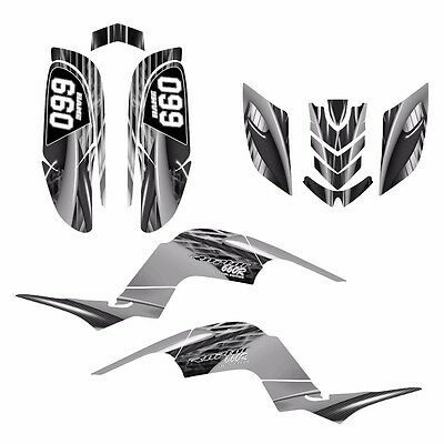 Yamaha Raptor 660 660R Custom Graphics Decal Sticker Kit #3333 Gray Metal