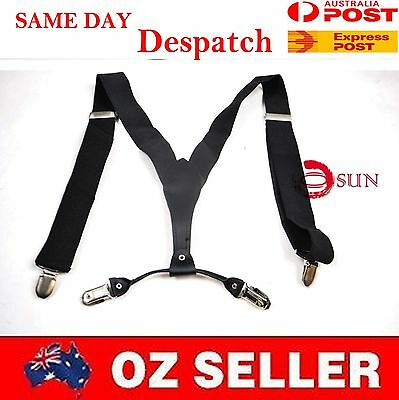 NEW MEN BRACES SUSPENDERS Black 35MM Wide WORK HEAVY DUTY BIKERS FASHION 4 HEADS