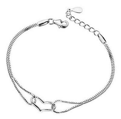 New fashion jewelry solid 925 Sterling SILVER Heart Bracelet/bangle Fine Gift