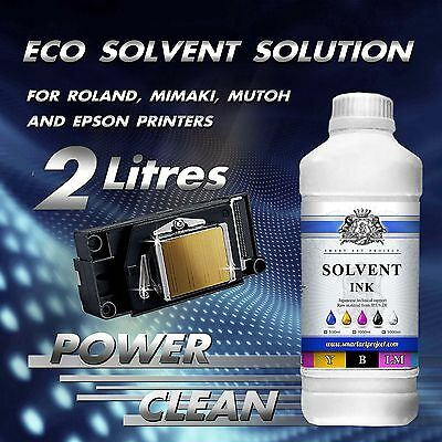 2 Liters of SOLVENT Printers Head Cleaner Epson base for Roland, Mimaki, Mutoh