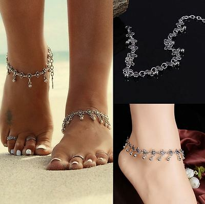 Summer Beach Tibetan Silver Daisy Chain with Dangle beads Anklet/Ankle Bracelet