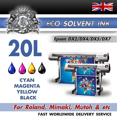 20 Liters (CMYK) NEW Eco Solvent ink for Roland, Mimaki, Mutoh   Epson DX2/4/5/7