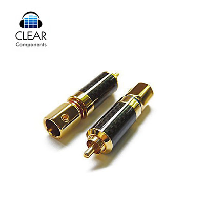 2x CINCH STECKER - CARBON 24K VERGOLDET-PREMIUM RCA PLUGS - BIS 10MM KAB HIGHEND