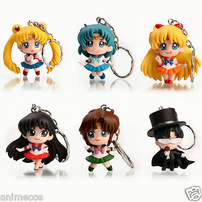 6pcs Sailor Moon Anime Keychain keyring Action figures toy