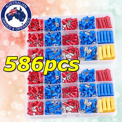 Electrical Wire Connector 586pcs Assorted Insulated Crimp Terminals Spade Set