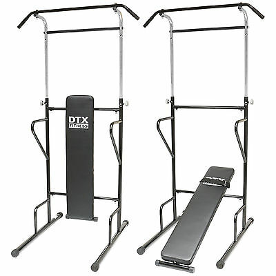 DTX Fitness Power Tower Dip Station Sit/Pull/Press/Chin Up Bench Bar Ab Home Gym