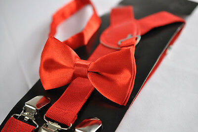 BOYS Girl KIDS Red Braces Elastic Suspenders Bowtie Bow Tie 1-8 Years Old Party