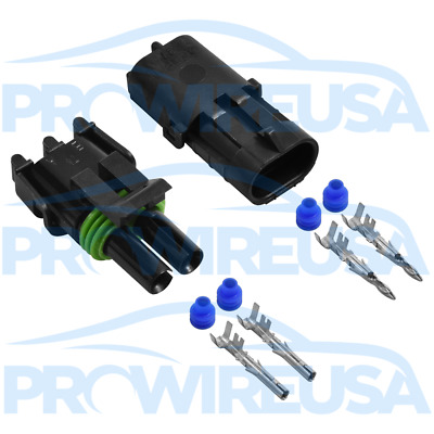 Delphi Weather Pack 2 Pin Sealed Connector Kit 12-10 GA