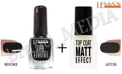 Lemax - Top Coat MATT EFFECT Nail Polish Hardener + BLACK nail Enamel 9ml + 9ml