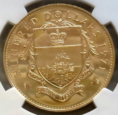 1971 Gold Bahamas $100 Ngc Proof 65 Ultra Cameo Only 1250 Minted
