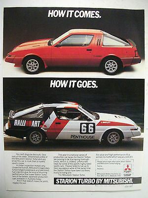 1984 Mitsubishi Starion Turbo Fullpage Colour Magazine Advertisement