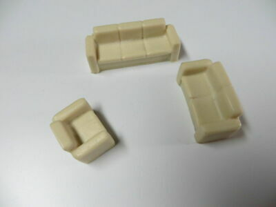 48-3016 1/48 O Scale Living Room Set Couch Sofa Love Seat & Chair Resin Castings