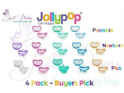 4pk Jollypop ~ the new Gumdrop ~ Dummy Pacifier Soother Pick size and colour