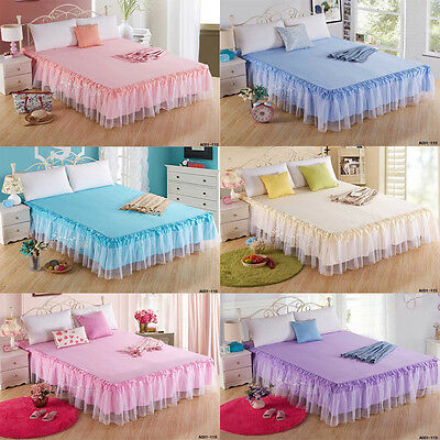 New Romantic Soft Lace Ruffle Pleated Bed Skirt /Valance Double Queen King Size