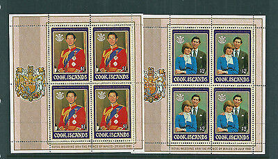 Cook Island 1981 Royal Wedding (Charles & Diana) sheetlets of 4 unmounted mint