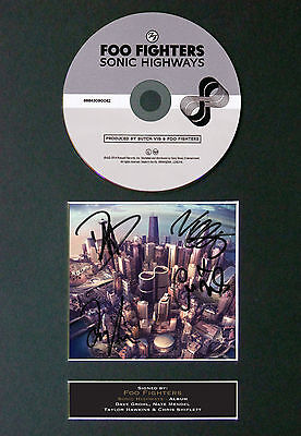 FOO FIGHTERS Sonic Highway Signed Autograph CD & Cover Mounted Print A4