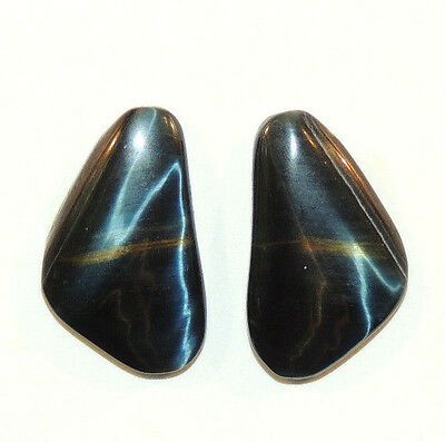 Blue Tiger's Eye 24x15mm with 4mm dome Cabochons Set of 2  (8949)