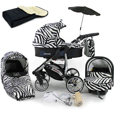 Baby Pram Stroller Pushchair + Car seat - Buggy Umbrella Footmuff swivel wheels