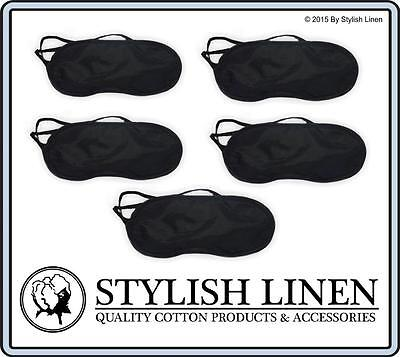 Travel Eye Mask Sleep Sleeping Soft Blindfold Cover Rest Eyepatch New Black x 5