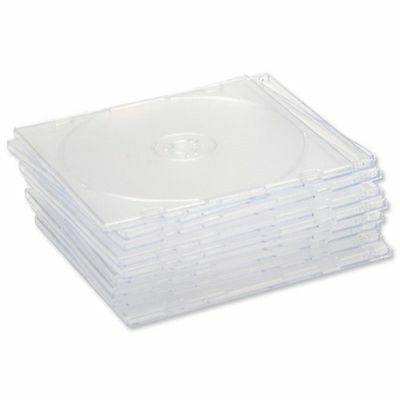 50 X CD DVD Slimline Jewel 5.2mm Cases for 1 Disc With Clear Tray - Pack of 50