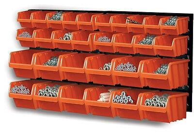 32 Piece Plastic Mounted Wall DIY Tool Organiser Storage Bin & Board Set Garage