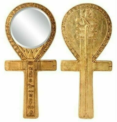 """Ancient Egypt Culture Djed Pillar of Stability Ankh Hand Mirror Collectible 8""""h"""