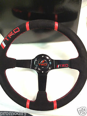 TRD Style 350mm Suede Leather Deep Dish Steering Wheel OMP MOMO Drifting Racing