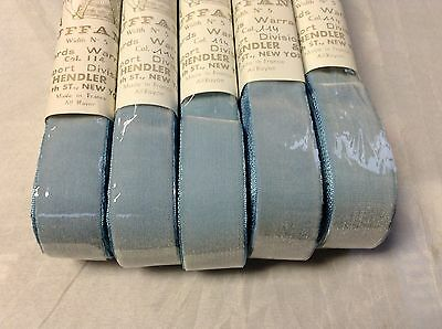 "10 Yard 7/8"" Velvet Ice Blue Ribbon Fabric Made in France 100% Rayon"