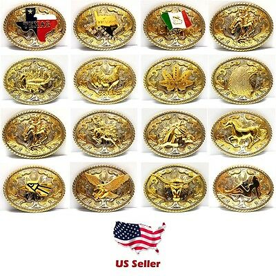 Western Style Cowboy Rodeo Gold OVAL Belt Buckle Multiple Choice Buckles