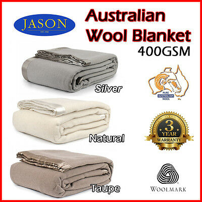 Washable - 400gsm AUSTRALIAN WOOL BLANKET - Single Double , Queen King