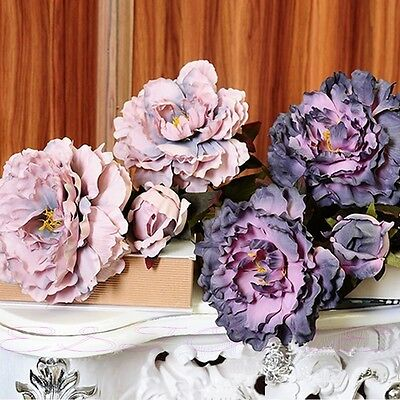 Simulation High Peony Bouquet Artificial Flowers Leaf Floral Home Decoration New
