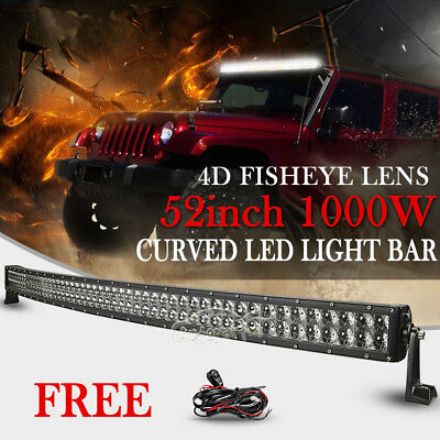 """52inch 1000W PHILIPS Curved LED Light Bar Flood Spot Offroad ATV 4WD Jeep 50/54"""""""