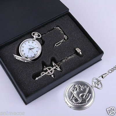 Fullmetal Alchemist Cosplay Pocket Watch + Necklace + Ring Set With Box