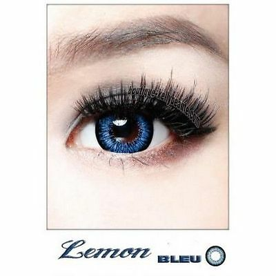 Lentilles de Couleur GRIS Big Eyes LEMON Duree 365j. Filtre Contact UV +Etui
