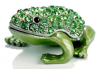 Jewel Green Frog  ~ Enamel & Jeweled Trinket Box #3746 A