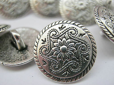 "10 Silver Flower Metal Shank Sewing Buttons 15mm (5/8"") Jacket Coat Buttons"