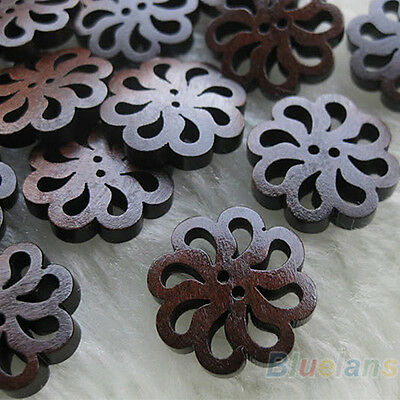 40 Pcs Hollow Round 2-Holes Sewing Scrapbooking DIY Wooden Buttons Useful Decor