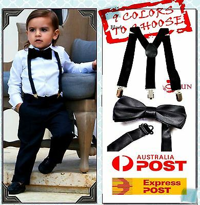 BOYS Girl KIDS Braces Elastic Suspenders Bowtie Bow Tie 1-8 Years Old All Colors
