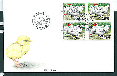 Aland 2002 Chickens Framas set on unaddressed post office first day cover