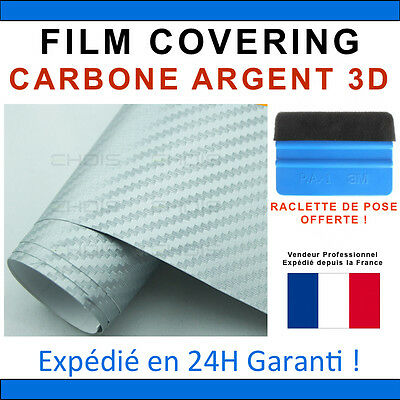 200 x 152cm Carbone 3D Argent Film Vinyle Sticker Covering THERMOFORMABLE PRO