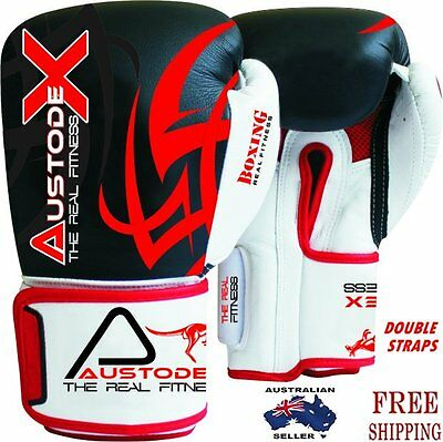 Austodex Boxing Sparring Gloves MMA Punch Bag Mitt UFC Fight Training 8oz-16oz