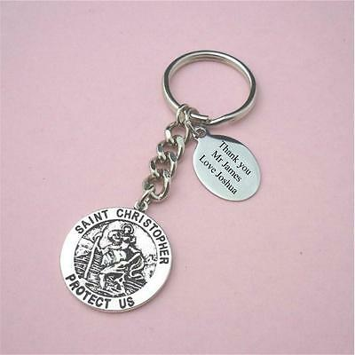 Personalised Gift for Male Teacher or Teaching Assistant, St Christopher Keyring