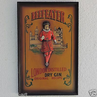 Vintage Beefeater London Distilled Dray Gin Plaque on Painted Wood.
