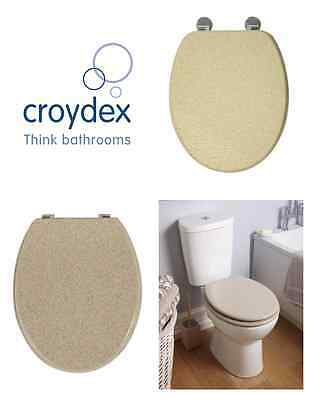 Natural Sandstone Moulded Wood Universal Bathroom Wc Toilet Seat With Fittings