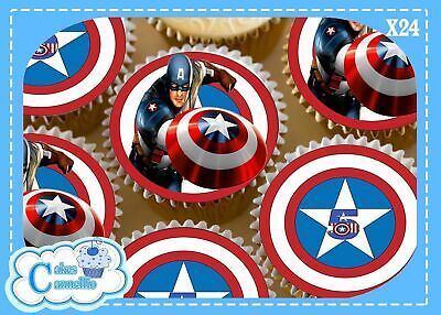 24 x CAPTAIN AMERICA BIRTHDAY AGE 5 CUPCAKE TOPPERS EDIBLE RICE PAPER CC0023M