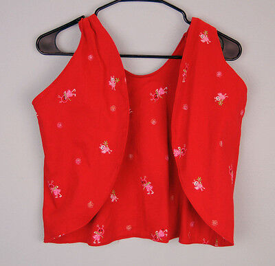 PARATI Little Girl's Red Embroidered Bee Print Vest Sz 12-24m