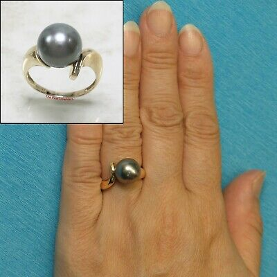 14k Solid Yellow Gold; 11mm Genuine Black Tahitian Pearl Solitaire Ring TPJ