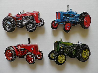 Set Of 4 Classic Farm Tractors New Fridge Magnets.massey Ferguson,john Deere Etc
